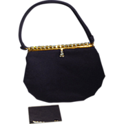 Vintage 1950s Morris Moskowitz Evening Bag Navy Blue Wool With Rhinestone Frame and Clasp