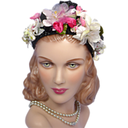 Vintage 1950s Roberta Bernays Original Black Woven Straw Floral Hat