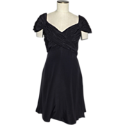 Vintage 1980s Scaasi Boutique Black Silk Cocktail Dress Originally Sold at Saks Fifth Avenue