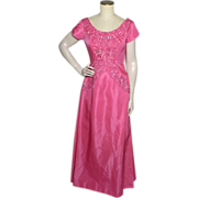 Vintage 1960s Mike Benet Formals Pink Taffeta Sequined Evening Gown