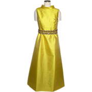 Vintage 1960s Yellow Silk Formal Evening Gown Beaded Belt Made By Dynasty