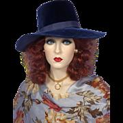 Vintage 1960s Navy Blue Velvet Wide Brimmed Hat