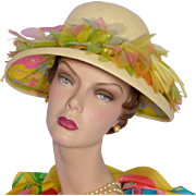 Vintage 1960s Christian Dior Straw Hat With Silk Flowers