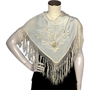 Vintage 1930s Silk Flamenco Shawl With Hand Embroidery From Seville