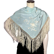 Vintage 1930s Blue Silk Flamenco Shawl With Hand Embroidery From Seville
