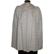 Vintage 1930s-40s Cape Machine Embroidered Ivory Taffeta On Layaway