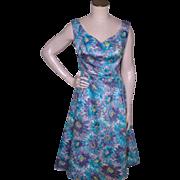 Vintage 1950s Mardi Gras Floral Print Dress