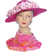 Vintage 1970s Jack McConnell Boutique Rose Straw Picture Hat With Flowers