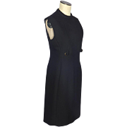 Vintage 1960s Black Wool Tailored A Line Dress