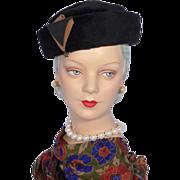 Vintage 1960s Coralie Black Fur Felt Pillbox Hat With Rhinestone Dangle