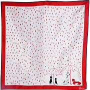 Vintage 1960s Vera Raining Cats and Dogs Red and White Scarf