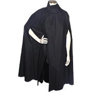 Vintage 1980s Black Merino Wool Cape