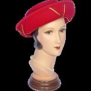 Vintage 1980s Deborah Red Wool Felt Hat