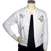 Vintage 1960s  Sweater Embroidered Furblend by Herald in Hong Kong Deadstock