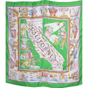 Vintage 1950s California Silk Souvenir Scarf Famous Landmarks