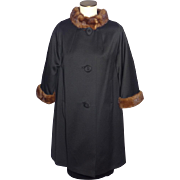 Vintage 1960s Black Wool Swing Style Coat With Mink Collar and Cuffs