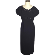 Vintage 1950s Grace Taylor Original Black Dress With Bead Detail