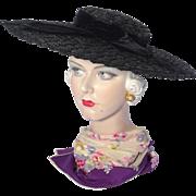 Vintage 1940s Large Black Straw Cartwheel Hat Burdines Sunshine Fashions