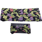 Vintage Nicole Miller Silk Cummerbund and Bow Tie Set Grape Print New in Box