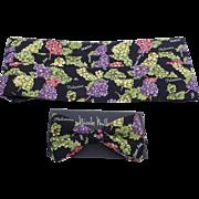 Vintage Nicole Miller Silk Cummerbund and Bow Tie Set Grape Print New in Box