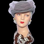 Vintage 1980s Adolfo II Gray Wool Felt Derby Hat