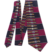 Vintage Cigar Print Silk Tie Valeriano Collection