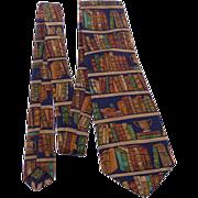 Vintage Ex Libris Book Print Silk Tie Alynn Neckwear