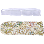 Vintage 1960s Beaded and Embroidered Comb Case