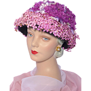 Vintage 1960s Floral Flower Pot Style Hat Shades of Purple and Pink