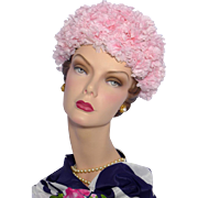 Vintage 1960s Pink Carnation Bubble Hat Originally Sold at Woodward & Lothrop