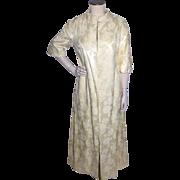 Vintage 1960s Neiman Marcus Ivory Damask Evening Coat