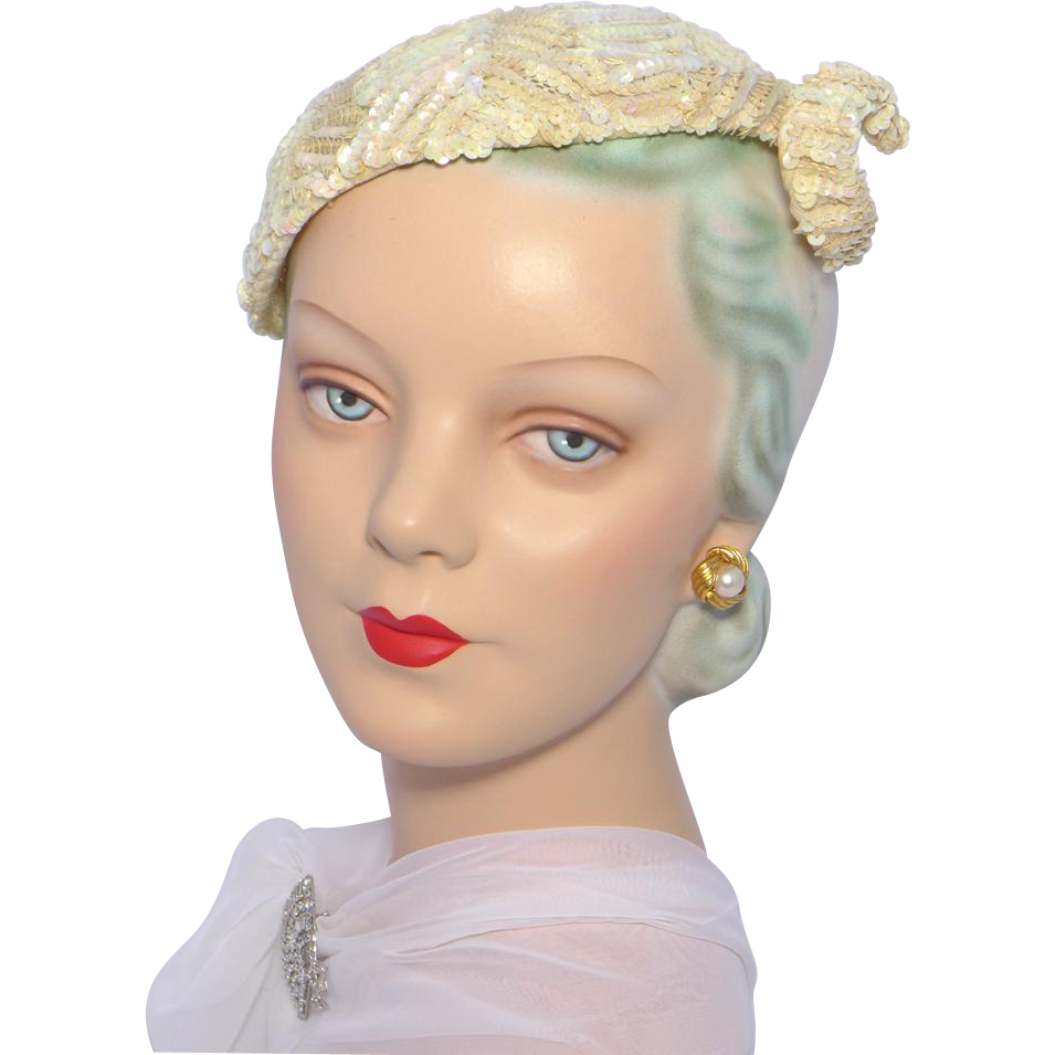 Vintage 1950s ranleigh ivory sequinned cocktail hat from - Retro vintage ...