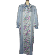 Vintage 1980s Christian Dior Blue Floral Robe