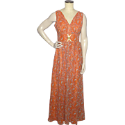 Vintage 1970s Orange Paisley Print Evening Gown