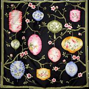 Vintage Japanese Lantern Silk Scarf