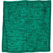 Vintage Liberty of London Green Silk Water Lily Scarf