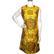 Vintage 1960s Lily Liang Thai Silk Paisley Print Sheath Dress