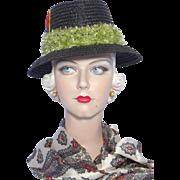 Vintage 1960s Golf Hat Ladies Straw Coburg Made in Italy