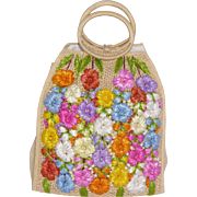 Vintage Woven Straw Floral Tote Bag By Patricia Made in Philippines