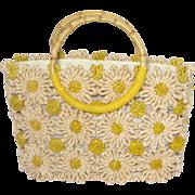 Vintage Cappelli Daisy  Handbag Woven Corn Husk