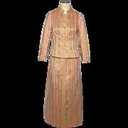 Vintage 1960s Saint Aubin de Paris 2 Piece Formal Dress Pink and Gold Brocade