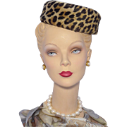 Vintage 1960s Faux Leopard Pillbox Hat