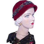 Vintage 1950s Meadowbrook Burgundy Velour Cloche Hat