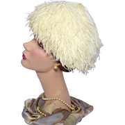 Vintage 1950s Ostrich Feather Cocktail Hat
