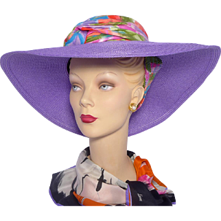 Vintage Whittall & Shon Violet Straw Sunhat
