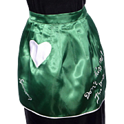 Vintage 1950s Apron Green Satin Souvenir of Germany Don't Kiss Me I'm Busy