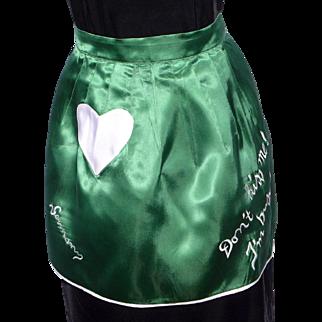 Vintage Apron Green Satin Souvenir of Germany Don't Kiss Me I'm Busy