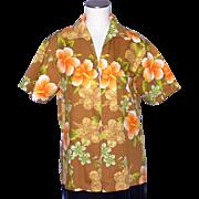 Vintage 1970s Barefoot Trader Hawaiian Shirt Floral Print Zip Front