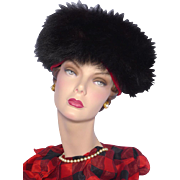 Vintage 1960s Henry Margu Red Velvet Hat Black Fox Fur Trim