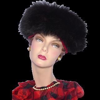 Vintage 1960s Henry Margu Red Velvet Hat Black Fox Fur Trim